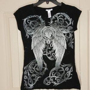 Angel Wings black tee shirt